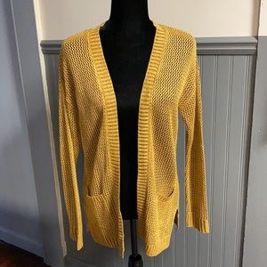 Mudd Golden Yellow Loose Knit Open Front Cardigan